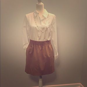 J.Crew tan gathered waist skirt